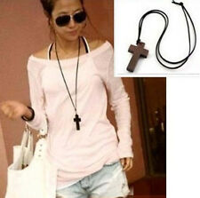 VOGUE Ladies Retro Wooden Cross Pendants Synthetic Leather Necklace EP