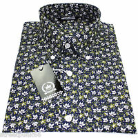 Relco Mens Navy Green Floral Long Sleeved Shirt Mod Skin Retro Indie Vintage NEW