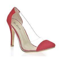 Eye Candy Womens Pointy Toe Translucent High Heel Stiletto Pumps Red Velvet