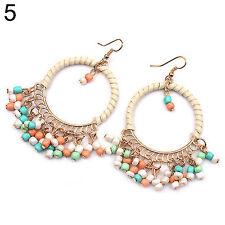 EG_ Ideal Fancy Women Boho Style Beads Tassels Circle Dangle Hook Earrings Jewel