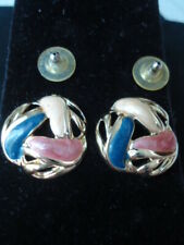 Large Golden & Cream, Black & Pink Enamel Knot Post Earrings Size: 1""