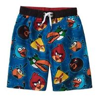 ANGRY BIRDS CHARACTERS BOYS SWIM TRUNKS BLUE SWIMSUIT BOARD BOXER SHORTS 8 10/12