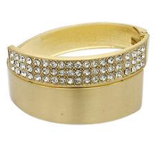 Gold Tone Metal Hinge Cuff Bangle Bracelet 3 Row Crystal Fashion Jewelry