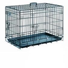 Cage chien en metal noir, taille 2, 63 x 44 x 52(h) cm, bac métal