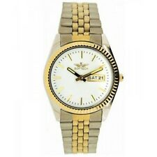 Softech Men's Chrome Gold Plated Day Date White Dial Watch Analog Quartz