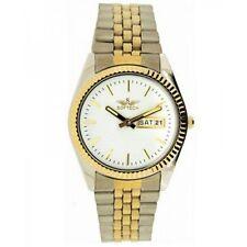Reloj de Cuarzo Softech para hombre Cromo Oro Plateado Día Fecha Analógico Esfera Blanca