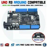 UNO R3 ATmega328P CH340g Micro USB Board Arduino Compatible Black Rev 3