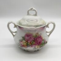 P. K. Silesia Pink Roses Covered Sugar Bowl With Lid Vintage Antique Ceramic