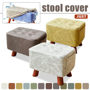 Soft Square/Round Fabric Cover Wooden Wood Footstool Ottoman Protector Slipcover