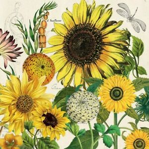 4 x Single Paper Napkins/3Ply/33cm/Decoupage/Assorted Flowers and Sunflowers