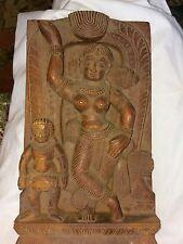 Vintage OLD Cambodian ? Nude Female Dancer Hand Carved Wood Asian Plaque