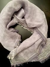 NWT Loro Piana Linen Silk Light Lavender Square Scarf Wrap Purple Stripes Edges