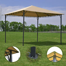 Outdoor 10'x10' Square Gazebo Canopy Tent Shelter Awning Garden Patio Tan