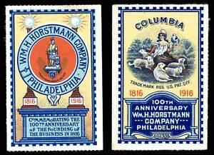 USA Poster Stamp - Wm. H. Horstmann Co. - Philadelphia - 2 Different