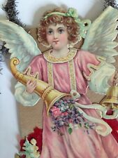 Antique Victorian Angel With  Cornucopia Christmas Ornament