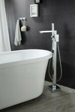 Solid Floor Mounted Square Tub Filler Faucet Free Standing Bath Shower Mixer 243