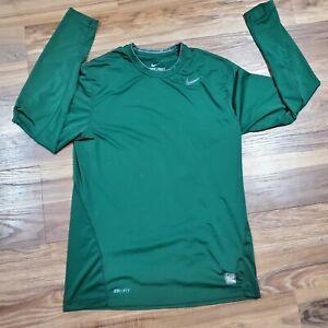 Nike Pro Combat MENS MEDIUM Fitted Long Sleeve Shirt Green 269610-