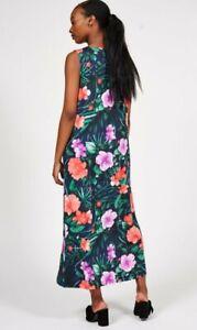 Carole Hochman Hibiscus V-Neck Sleeveless Lounge Dress  Petite Medium