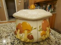 VINTAGE Ceramic Orange Brown Mushroom 4 Part Divided Sectional Canister Set