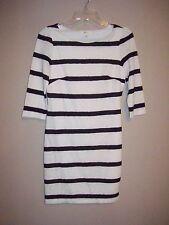Xai Womens Size S Black & White Striped Stretch Sheath Dress 3/4 Sleeves Lined