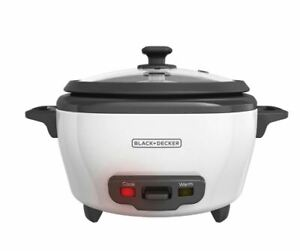 BLACK+DECKER 3-Cup Electric Rice Cooker with Keep-Warm Function, Nonstick, White
