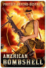 """""""American Bombshell"""" Pin-Up Girl Metal Sign - Past Time Signs HB001"""