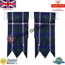 Men's Highland Kilt Hose Socks Flashes Blue Douglas Tartan Garter Pointed Wool
