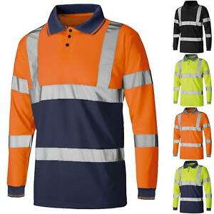 HI VIZ POLO VISIBILITY T-SHIRT REFLECTIVE SECURITY TAPE HIGH VIS SAFETY WORK TOP