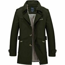 Men's Winter Mid-long Jacket Stylish Fit Trench Coat Jacket  Green