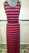 Lk Nw FEVER Striped Sleeveless Maxi Dress Pink Black Size MEDIUM  MSRP $85