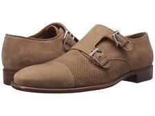 Bruno Magli Mens Wesley Monk Straps Casual Dress Shoe Tan Suede 10.5 NEW IN BOX