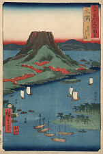 Japanese Art: Hiroshige: Osumi - Sakurajima Volcano on Sakura Is: Fine Art Print