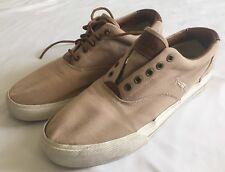 Polo Ralph Lauren VAUGHN Canvas Leather Sneakers Shoes 12 D Tan Beige