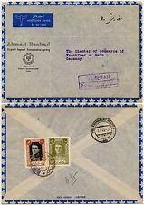 AHMAD RESHAD REGISTERED AIRMAIL PRINTED ENV. PARTHIA to GERMANY R HANDSTAMP 1949