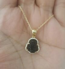 14K Yellow Gold Over Sterling Silver Black Onyx Luck Buddha Pendant Necklace