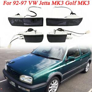 For VW Jetta MK3 92-97 Front Bumper Fog Lights Lamps Turn Signal Lamps Set Smoke