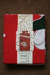 DISNEY MICKEY MOUSE CHRISTMAS DUVET COVER SET FOR SINGLE BED BRAND NEW