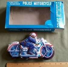 """Vintage Tin Friction Toy PD Police Motorcycle """"NO. 51"""" IN ORIGINAL BOX!"""