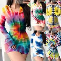 ❤️Womens Tie Dye Hooded Mini Dress Ladies Sexy Bodycon Long Sleeve Sweater Dress