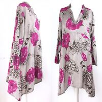 MASAI Clothing Company Taupe Pink Floral Artist Smock Lagenlook Dress S 10 12