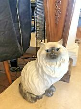 Vintage Snow Shoe Persian Cat Sitting Statue With Blue Eyes 14� X 14