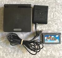 Nintendo Game Boy SP Onyx Black + OEM Charger Super Mario Advance Clean & TESTED