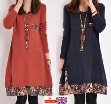 UK Winter Women long sleeve Holiday Casual Shirt Dress Lady Mini Dress plus size