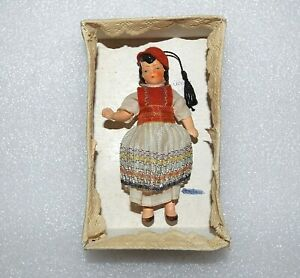"""VINTAGE BISQUE GREEK GIRL Original Clothes & Box 3 3/4"""" JOINTED GERMANY DOLL"""