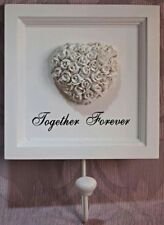 'Together Forever' White Embossed Roses Heart Hanging Hook Plaque Romantic Gift