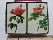 Vintage Miniature Playing Cards 2 Decks Roses No 1850 in Velvet Covered Box