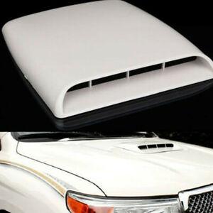 Sport Racing White Air Flow Vent Bonnet Car Front Hood Scoop Cover Trim Decor