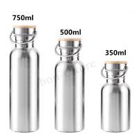 Edelstahl 750ml Wasserflasche Vakuum Trinkflasche Bambus Deckel Sport Flaschen