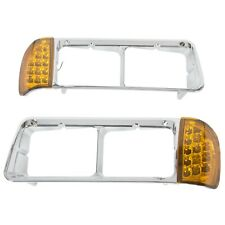 For Freightliner FLD120 Headlight Bezel Pair W/ LED Turn Signal Light ABS Chrome