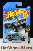 2019  Hot Wheels  Blue  '64 NOVA WAGON GASSER  Race Day   Card #198  HW56-061419